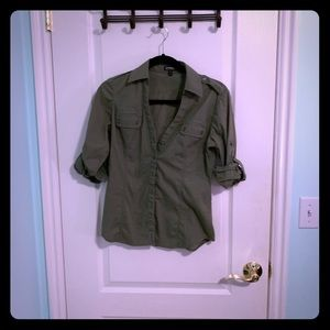Express Olive Button Up